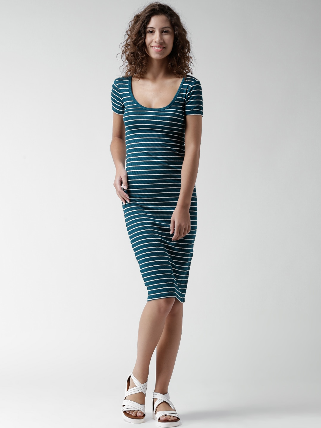Buy FOREVER 21 Teal Green Striped Bodycon Dress - Apparel ...