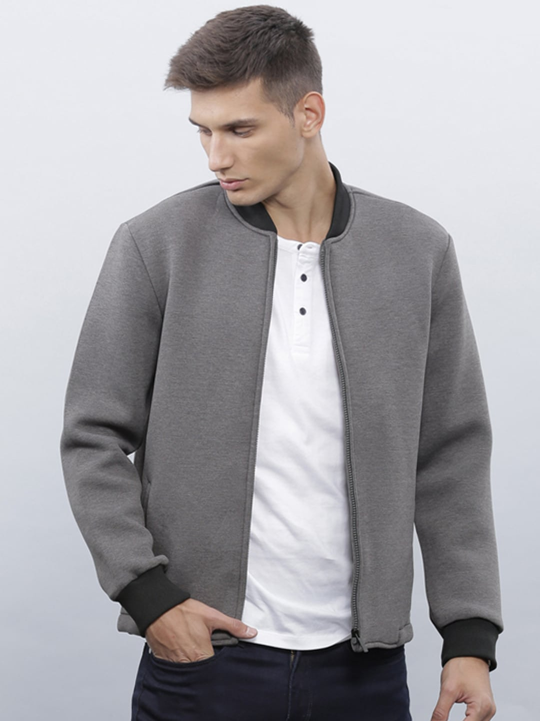 Mens Grey Bomber Jacket | Outdoor Jacket