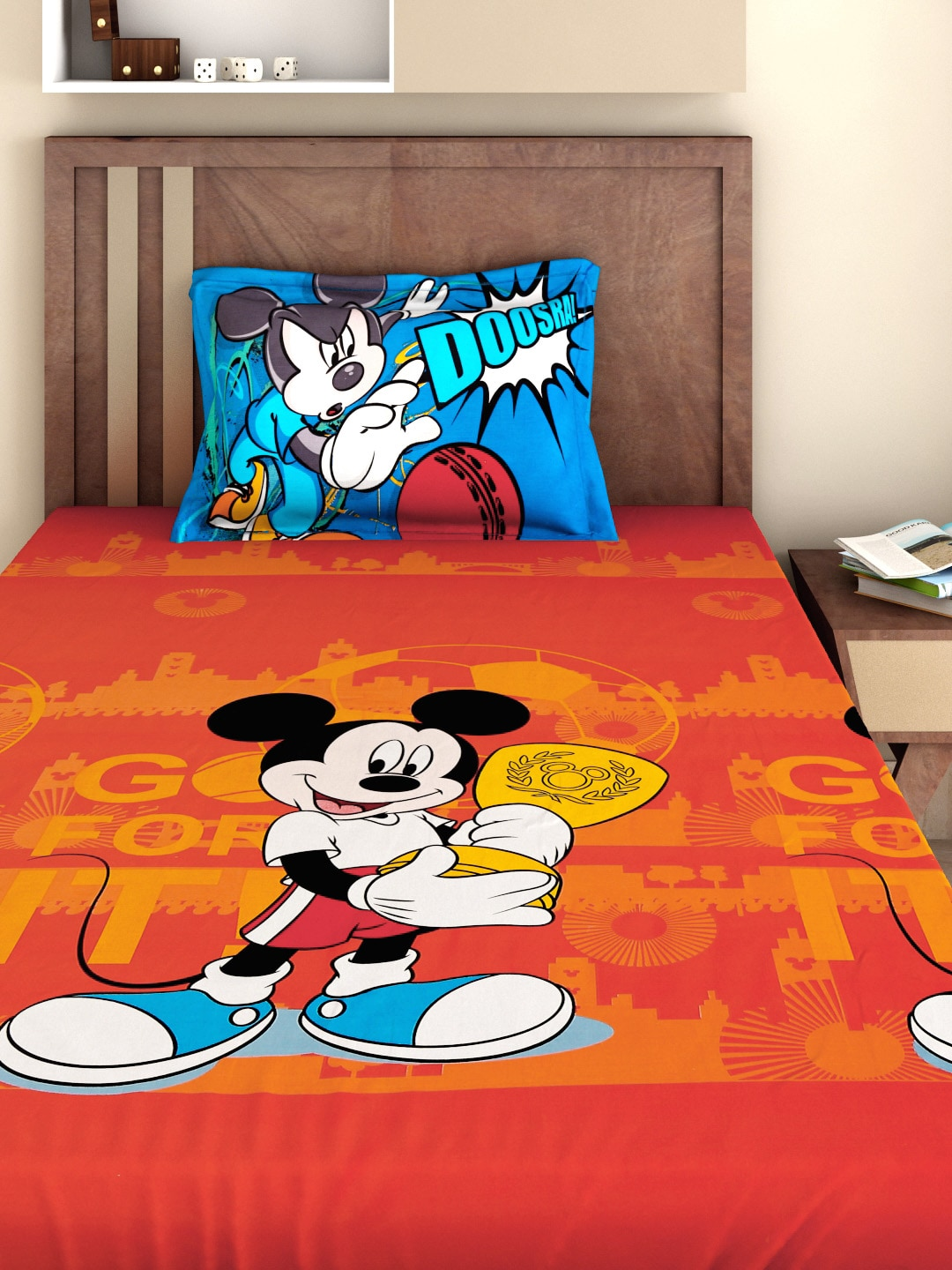 Mickey Mouse Bedroom Accessories Buy Bombay Dyeing Mickey Mouse Kids Red 180 Tc Cotton Single