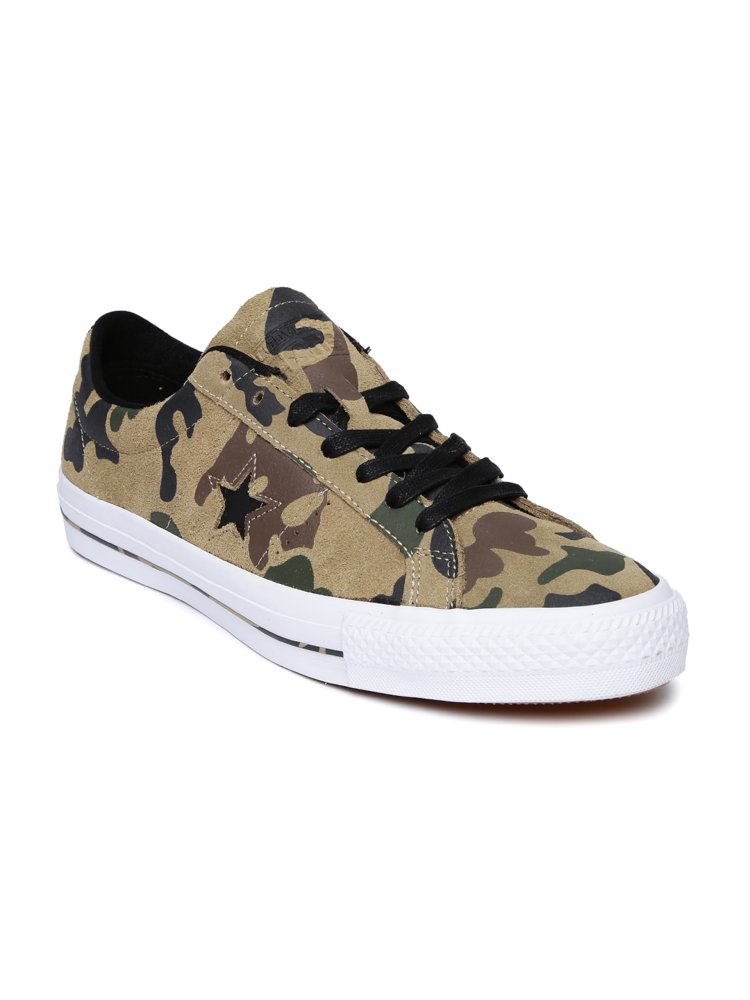 Converse Unisex Olive Green Camouflage Print Suede Skate Shoes