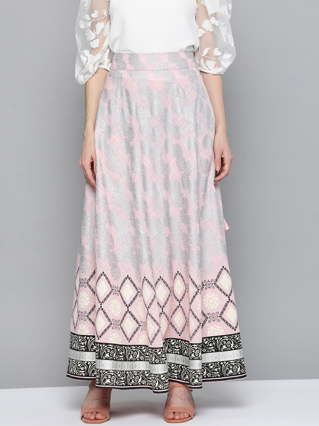 HERE&NOW Women Pink & Silver Ethnic Motifs Print Maxi Flared Cotton Skirt