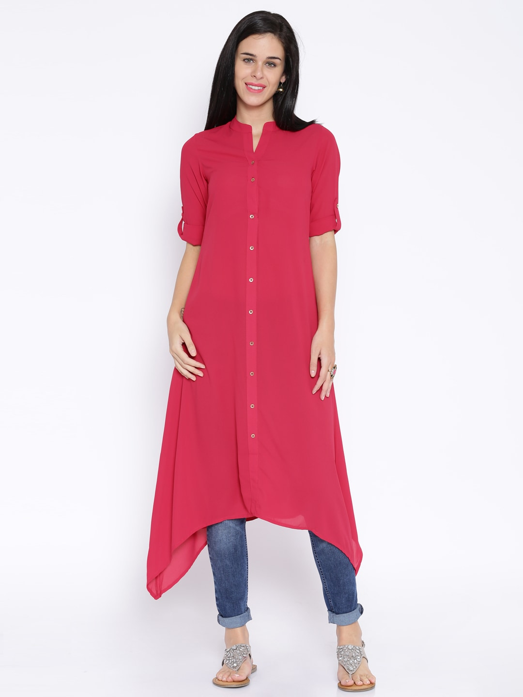Buy Vishudh Pink Polyester Kurta