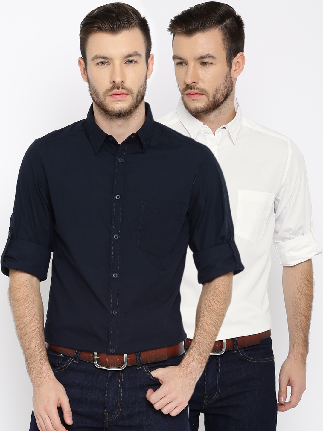 Roadster Men Pack of 2 Regular Fit Solid Casual Shirts