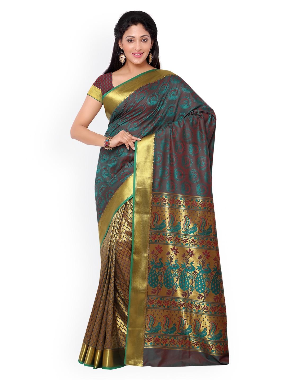 Varkala Silk Sarees Teal Blue & Red Paithani Silk & Jacquard Traditional Saree