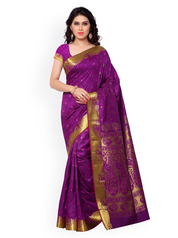 Varkala Silk Sarees Magenta Jacquard & Kanchipuram Art Silk Traditional Saree