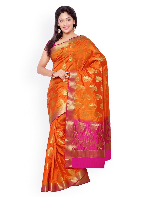 Varkala Silk Sarees Orange Jacquard Kanjeevaram Art Silk Traditional Saree