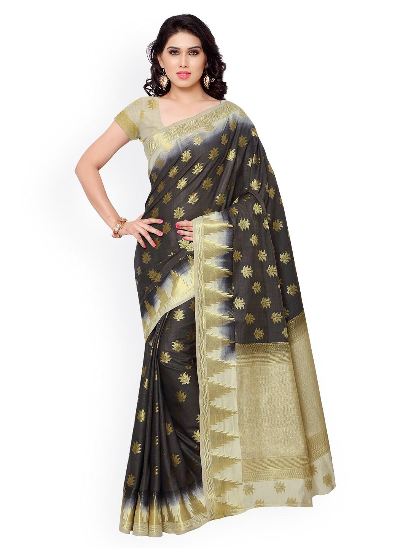 Varkala Silk Sarees Black Jacquard & Kanchipuram Art Silk Traditional Saree
