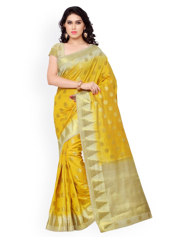 Varkala Silk Sarees Mustard Yellow Jacquard & Kanchipuram Art Silk Traditional Saree