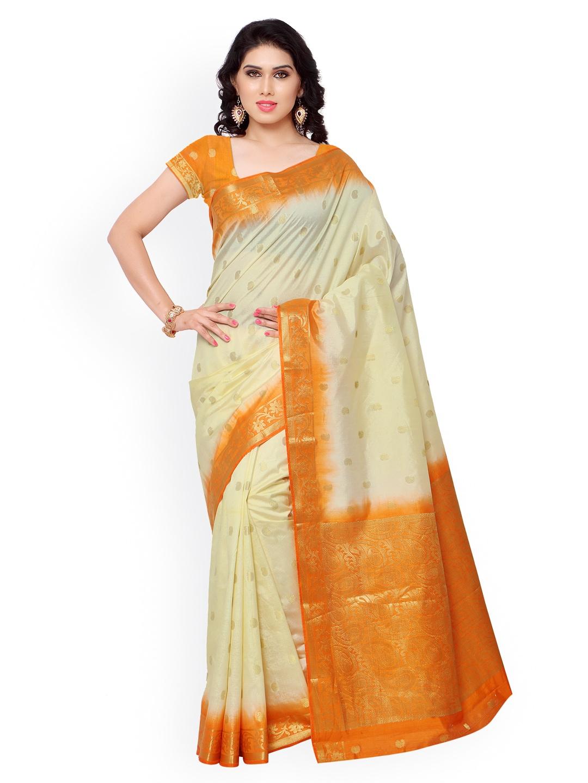 Varkala Silk Sarees Cream-Coloured Jacquard & Kanchipuram Art Silk Traditional Saree