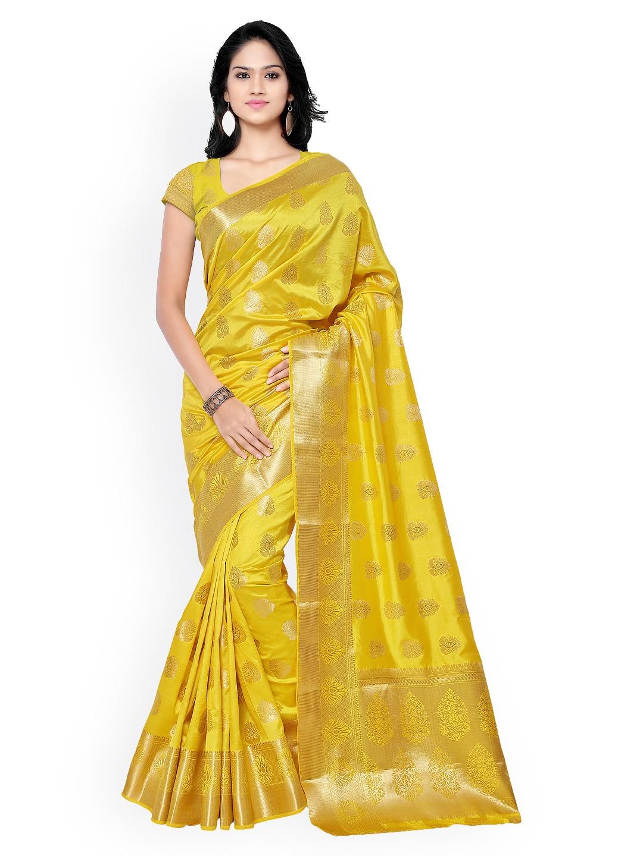 Varkala Silk Sarees Yellow Jacquard & Kanchipuram Art Silk Traditional Saree