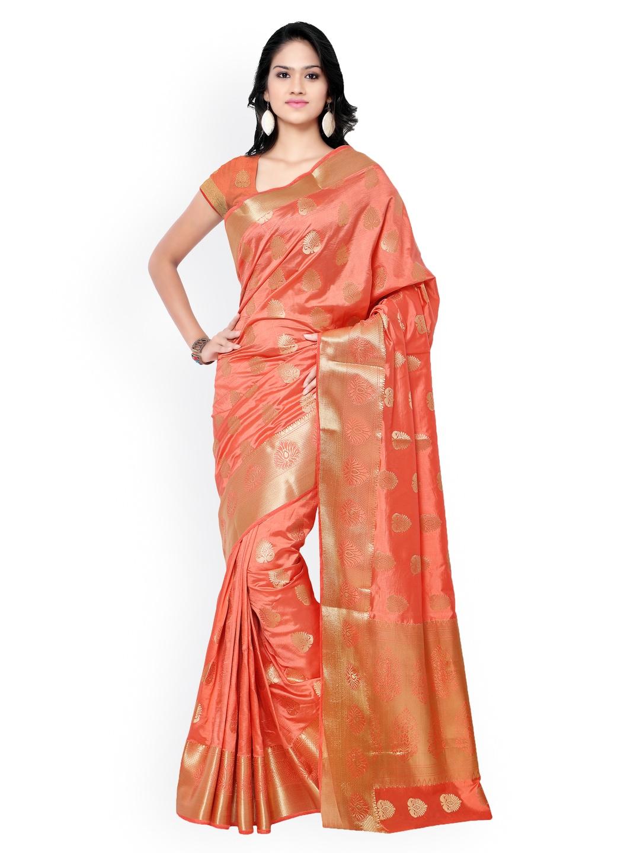 Varkala Silk Sarees Peach-Coloured Jacquard & Kanchipuram Art Silk Traditional Saree