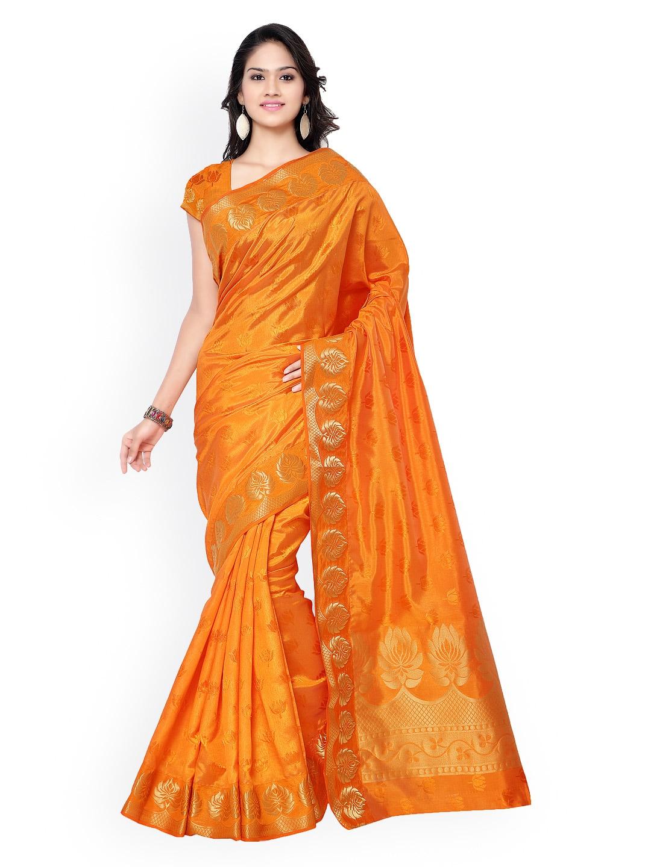 Varkala Silk Sarees Orange Jacquard & Kanchipuram Art Silk Traditional Saree