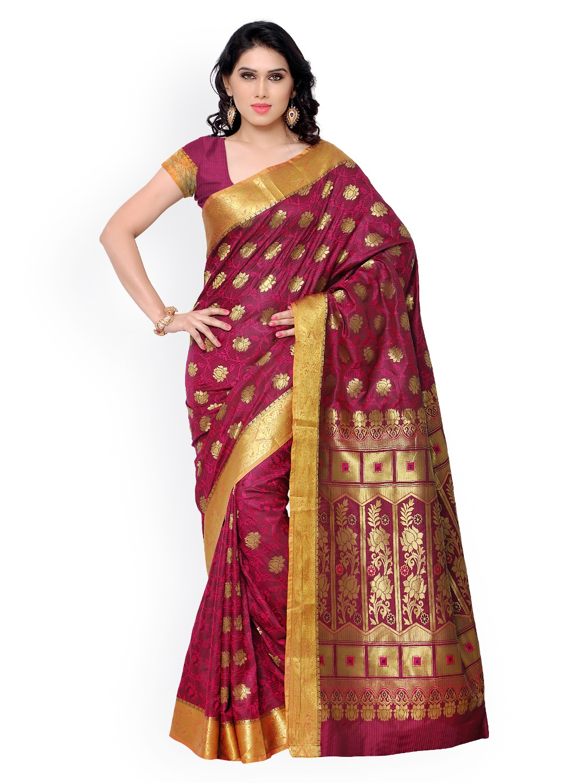 Varkala Silk Sarees Pink Jacquard & Kanchipuram Art Silk Traditional Saree