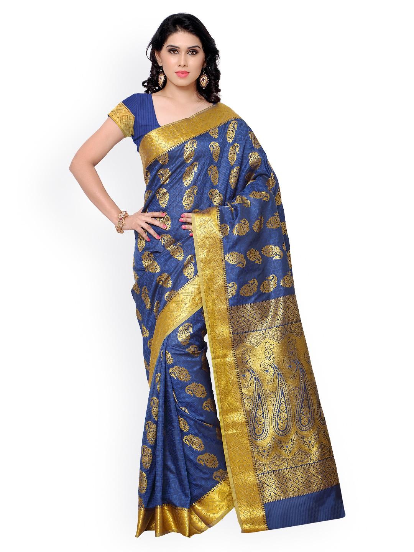 Varkala Silk Sarees Blue Jacquard & Kanchipuram Art Silk Traditional Saree