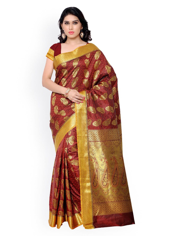 Varkala Silk Sarees Red Jacquard & Kanchipuram Art Silk Traditional Saree