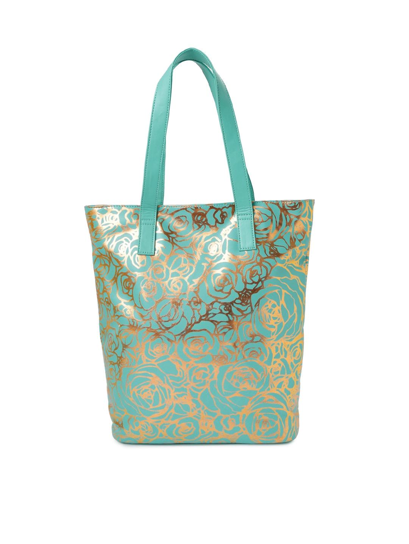 DressBerry Mint Green Floral Print Tote Bag