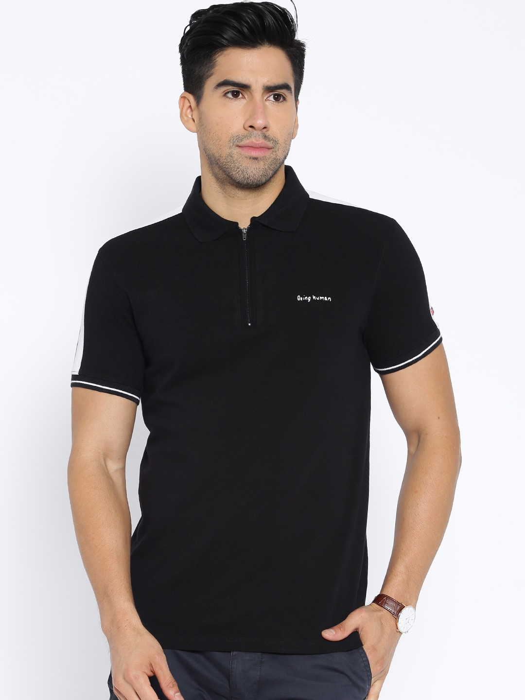 Buy being human clothing black polo t shirt apparel for men for Being human t shirts buy online india