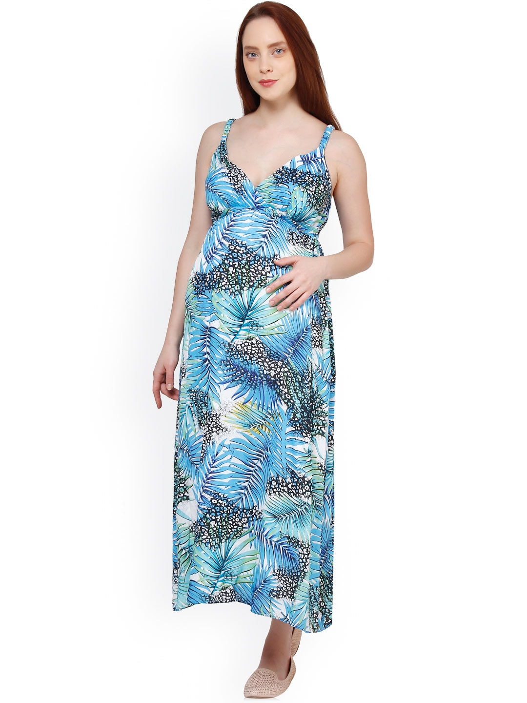 Oxolloxo Blue Printed Maternity Maxi Dress