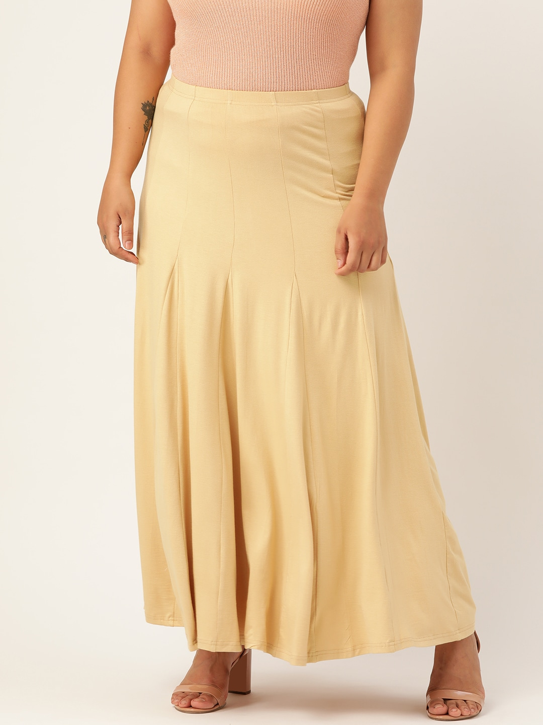 Revolution Women Beige Solid Panelled Knitted Flared Maxi Skirt
