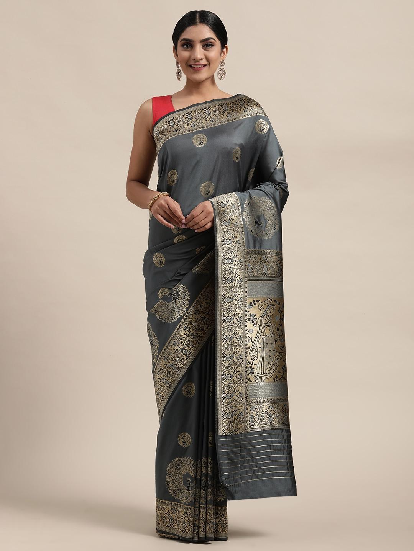 Mitera Grey & Gold-Toned Pure Silk Woven Design Banarasi Saree