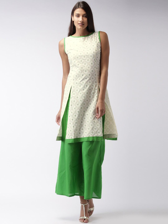 Ihram Kids For Sale Dubai: Buy GERUA Cream Coloured & Green Printed Kurta With