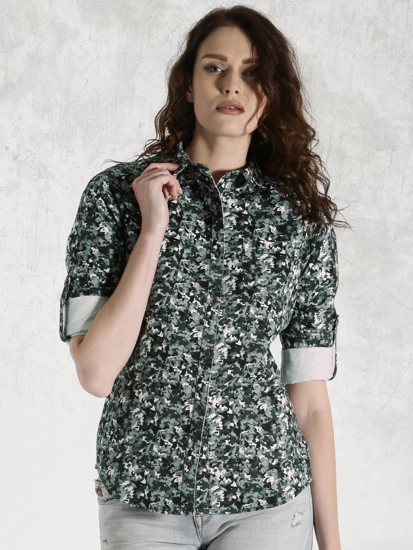 Roadster Women Olive Green Regular Fit Printed Casual Shirt