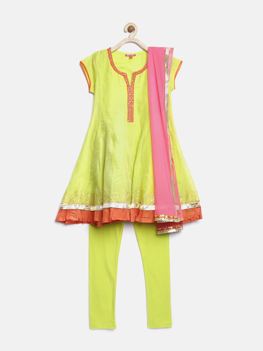 BIBA Girls Lime Green Anarkali Churidar Kurta with Dupatta