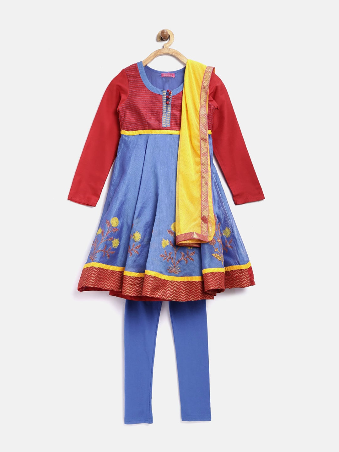 BIBA Girls Maroon & Blue Anarkali Churidar Kurta with Dupatta