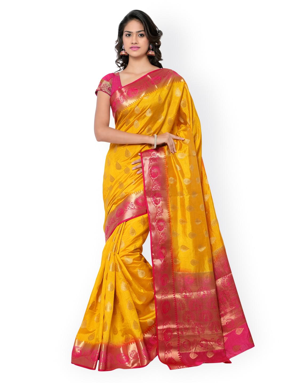 Varkala Silk Sarees Yellow & Pink Paithani Raw Silk & Jacquard Traditional Saree