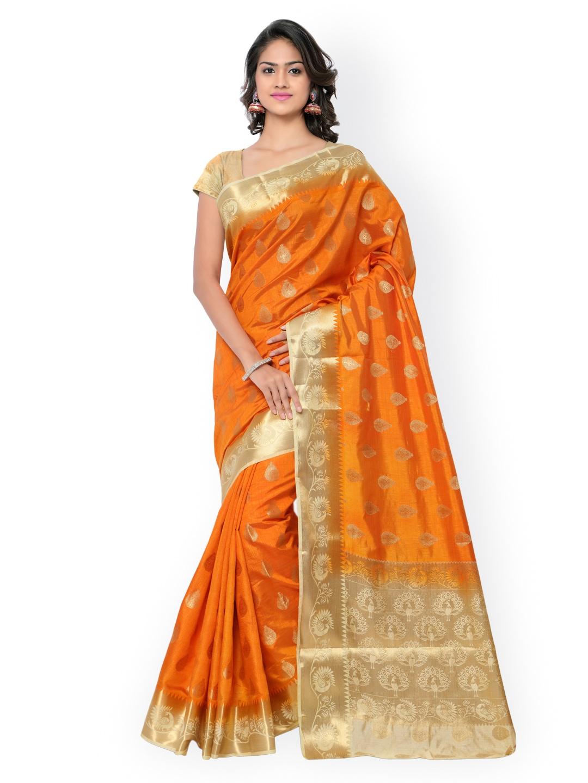Varkala Silk Sarees Orange & Cream-Coloured Paithani Raw Silk & Jacquard Traditional Saree