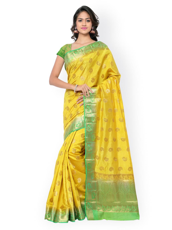 Varkala Silk Sarees Yellow & Green Paithani Raw Silk & Jacquard Traditional Saree