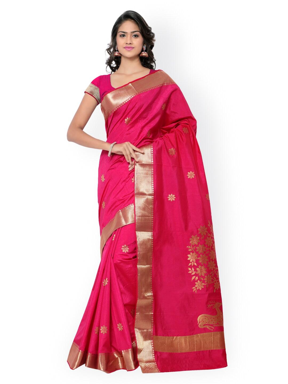 Varkala Silk Sarees Pink Kanjeevaram Art Silk & Jacquard Traditional Saree