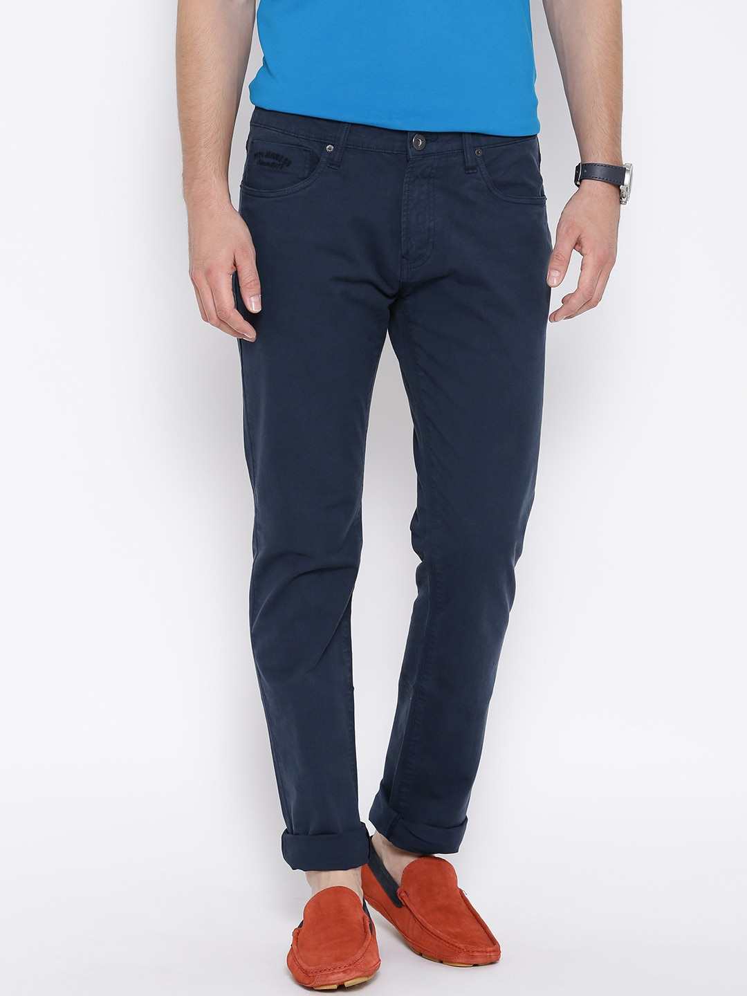 Pepe Jeans Men Navy Solid Regular Fit Chinos