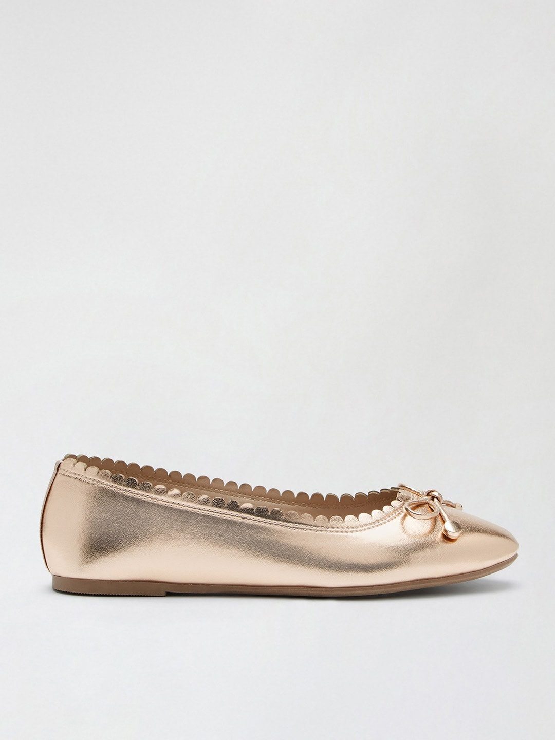 DOROTHY PERKINS Women Rose Gold-Toned Solid Metallic Ballerinas