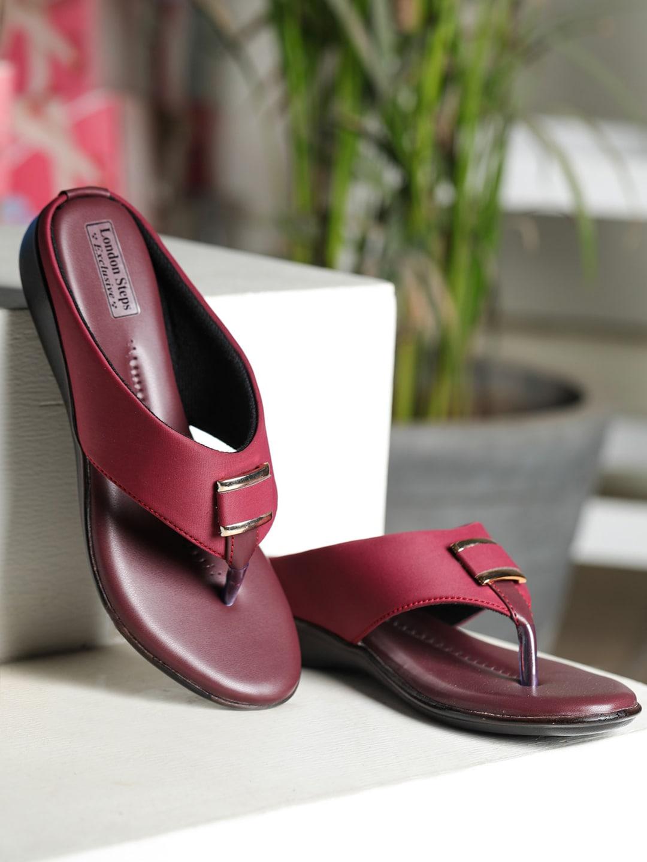 LONDON STEPS Women Maroon Solid Open Toe Flats