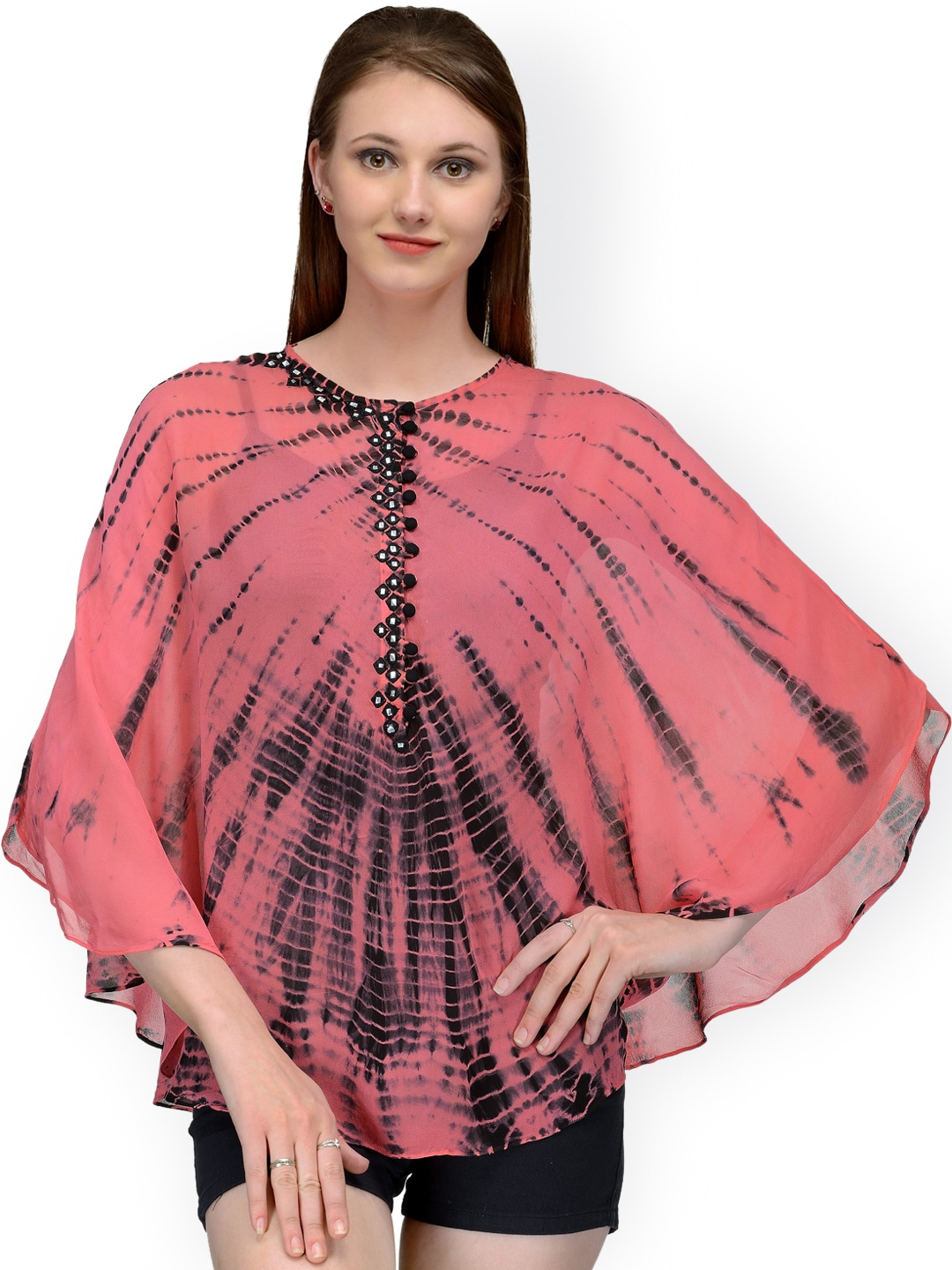 Bitterlime Pink Tie-Dyed Georgette Cape Top