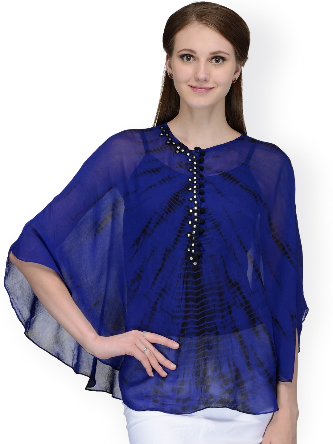 Bitterlime Blue Tie-Dyed Georgette Cape Top