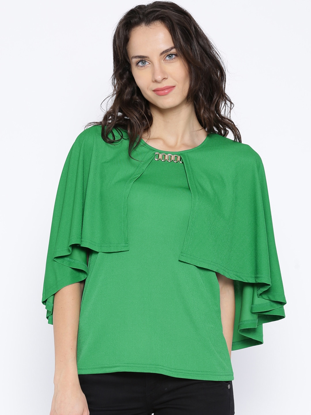 AND by Anita Dongre Green Cape Top