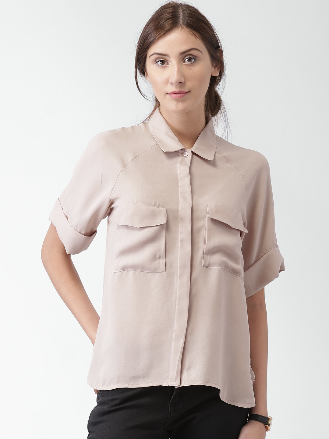 Mast & Harbour Women Dusty Pink Regular Fit Solid Casual Shirt