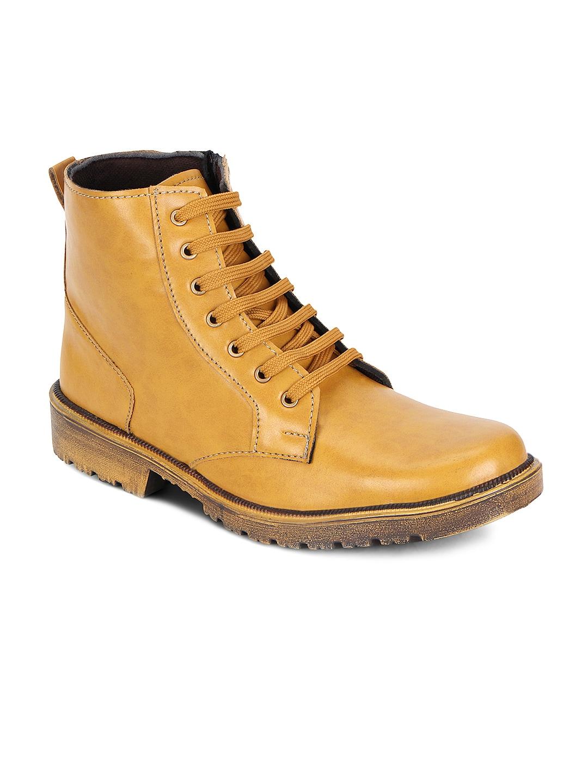 Kielz Men Tan Brown Leather Boots