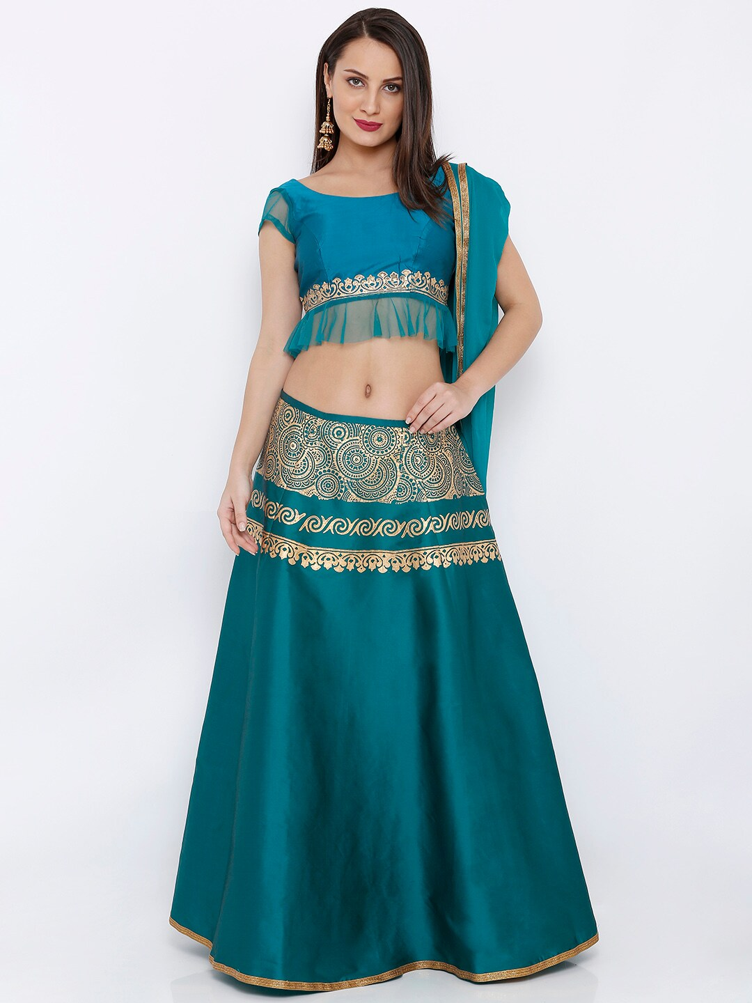 Ira Soleil Blue & Gold-Toned Printed Ready to Wear Lehenga & Blouse with Dupatta