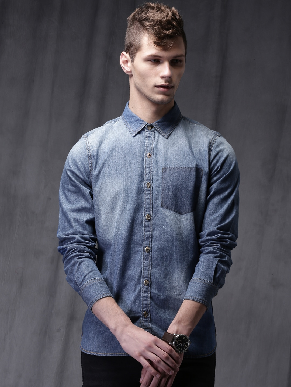fe0b29bb8ddd Denim Shirts - Buy Denim Shirts for Men Online in India