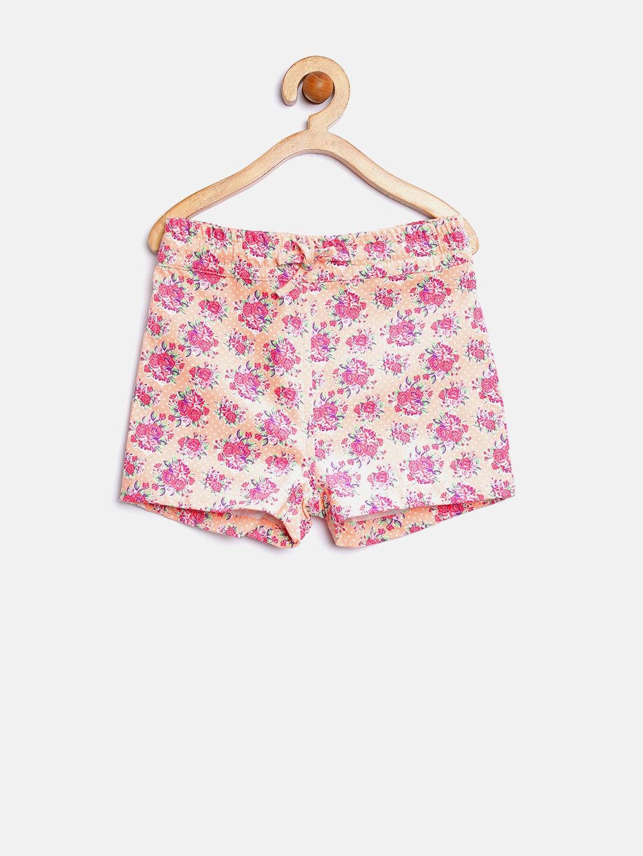 YK Girls Peach-Coloured Printed Shorts