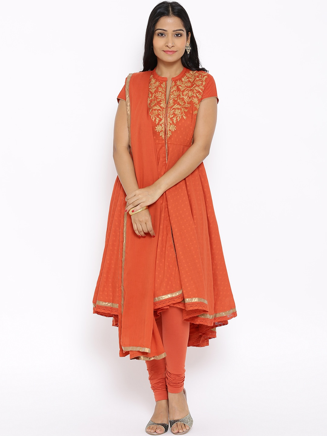 BIBA Orange Embroidered Anarkali Churidar Kurta with Dupatta