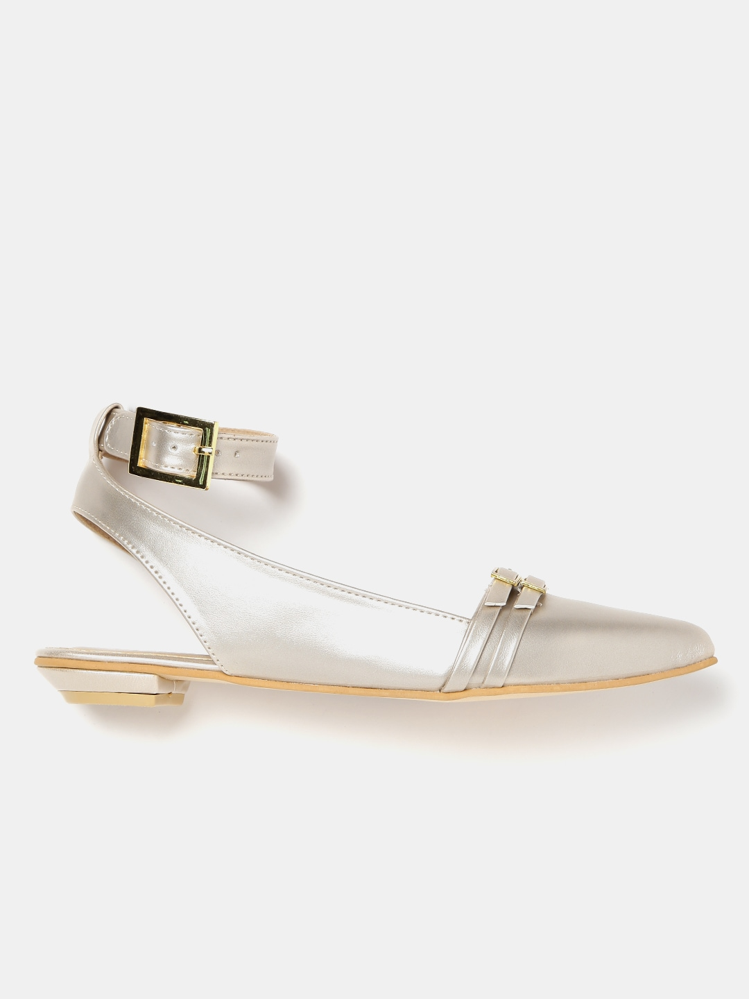 DressBerry Women Muted Gold-Toned Pointed-Toe Flat Shoes