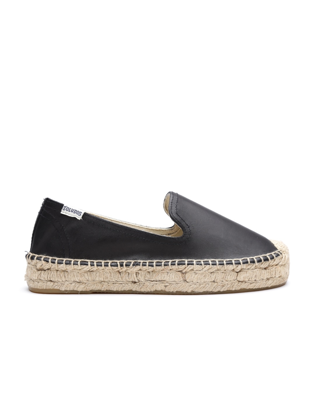 Soludos Women Black Solid Leather Espadrilles