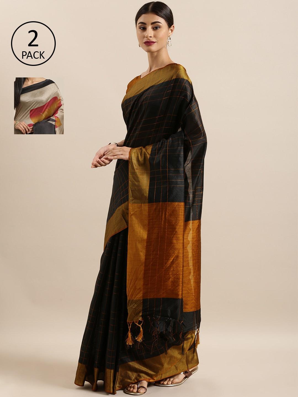 KALINI Black & Rust Art Silk Set of 2 Tussar Saree