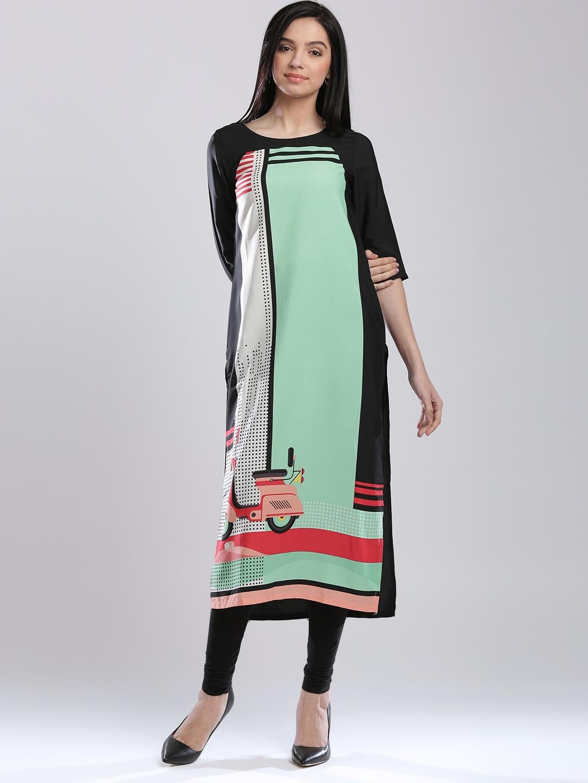 W Black & Green Polyester Printed Kurta
