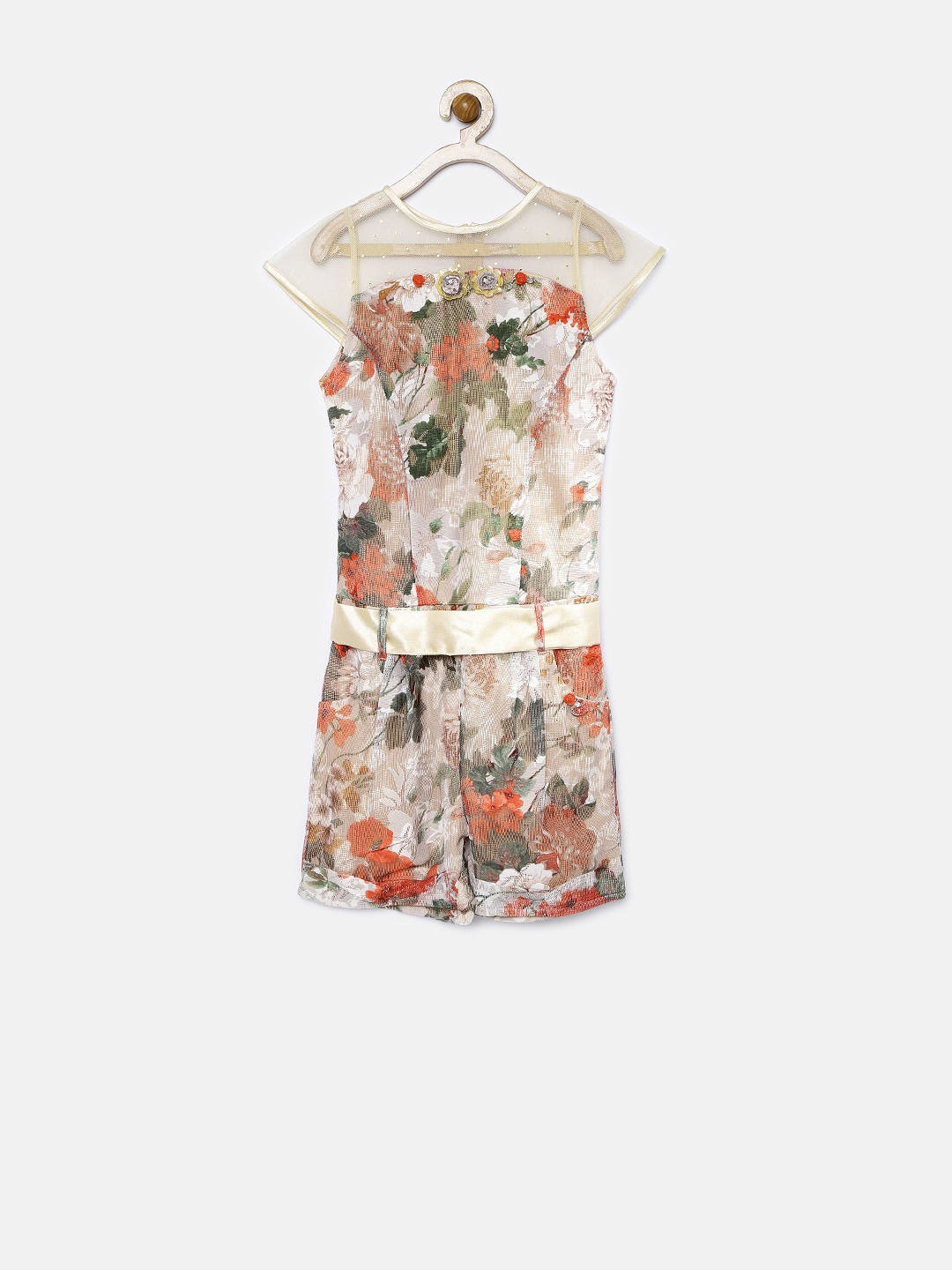 Tiny Girl Beige Floral Print Playsuit with Embellished Detail
