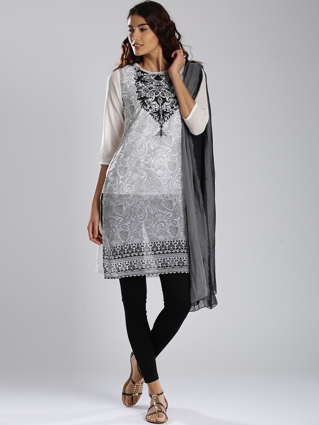 IMARA by Shraddha Kapoor Black & White Printed Churidar Kurta with Dupatta